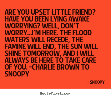 Snoopy poster quotes - Are you upset little friend? have you been lying awake worrying?.. - Friendship quotes