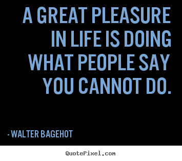 Create your own picture quotes about inspirational - A great pleasure in life is doing what people..