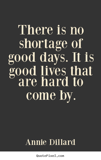 Quote about life - There is no shortage of good days. it is good lives that..