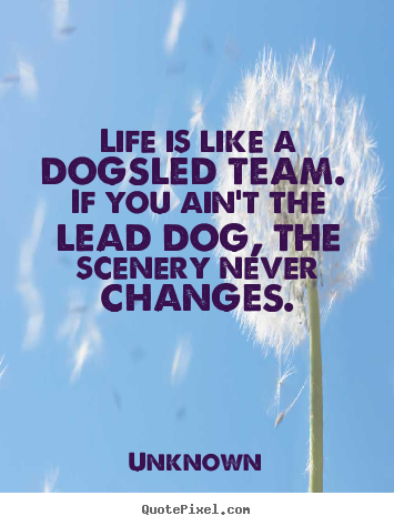 Life is like a dogsled team. if you ain't the lead dog, the scenery.. Unknown greatest life quotes