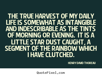 Life quote - The true harvest of my daily life is somewhat as intangible and..