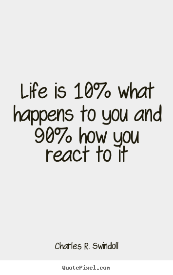 How to make picture quotes about life - Life is 10% what happens to you and 90% how you..