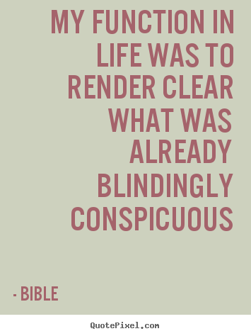 Quote about life - My function in life was to render clear what..