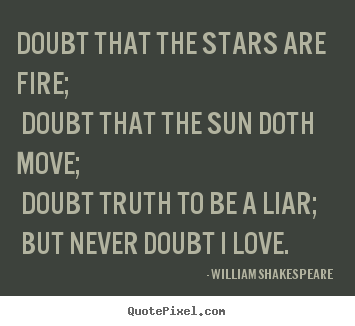 William Shakespeare  poster quote - Doubt that the stars are fire; doubt that the sun doth.. - Love quotes