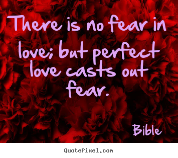 Love quotes - There is no fear in love; but perfect love casts out fear.