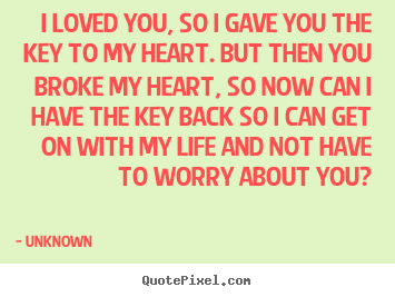 Create custom picture quotes about love - I loved you, so i gave you the key to my heart. but then you broke my..