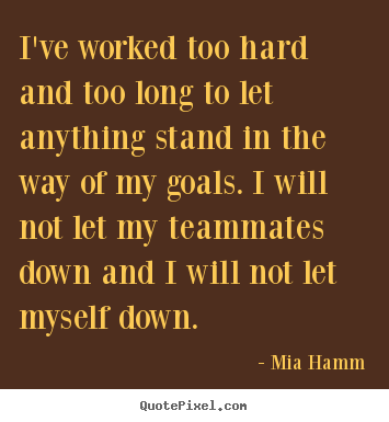 I've worked too hard and too long to let anything.. Mia Hamm popular motivational quotes