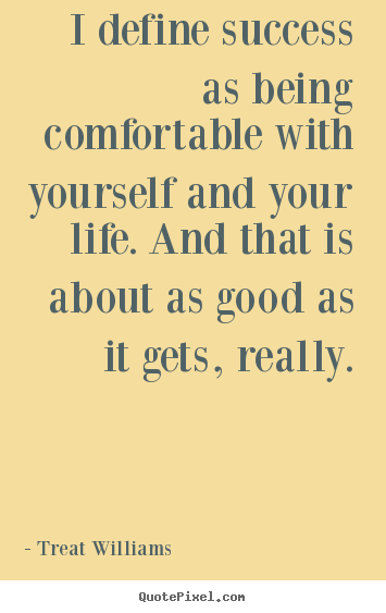 Treat Williams picture quotes - I define success as being comfortable with yourself and your.. - Success quotes
