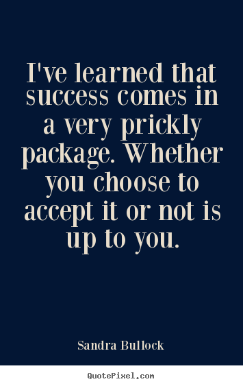Success quotes - I've learned that success comes in a very prickly package...