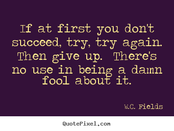 Success quotes - If at first you don't succeed, try, try again.  then give up.  there's..